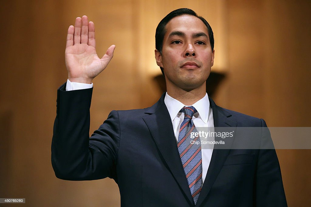 Mayor Julian Castro is sworn in during his confirmation hearing before the Senate Banking, Housing and Urban Affairs Committee in the Dirksen Senate Office Building on Capitol Hill June 17, 2014 in Washington, DC. The current mayor of San Antonio, Texas, Castro has not faced serious opposition in the Senate.
