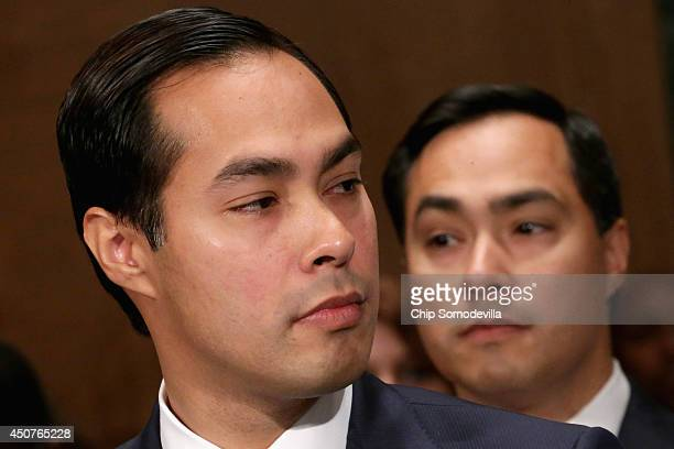 Mayor Julian Castro testifies during his confirmation hearing before the Senate Banking Housing and Urban Affairs Committee with his twin brother Rep...