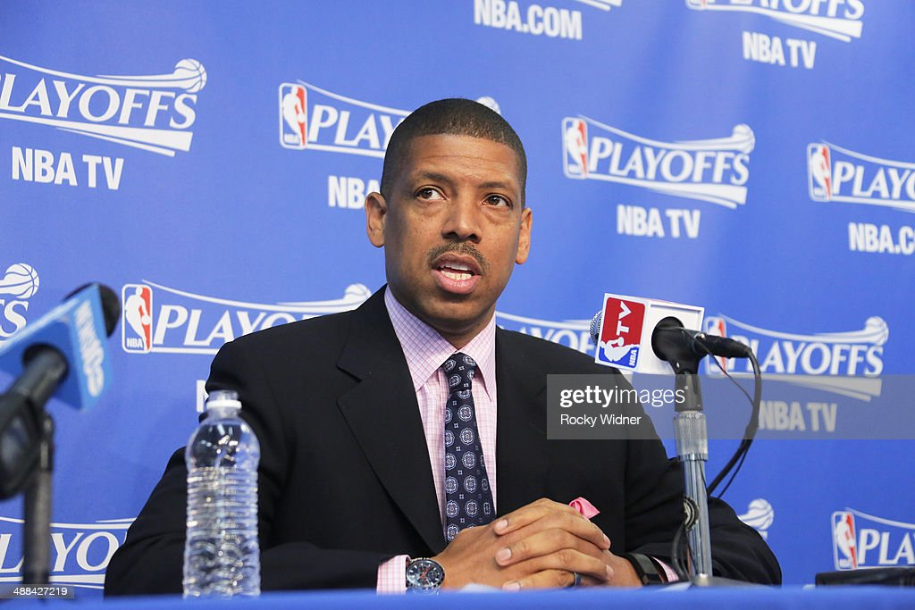 Mayor <a gi-track='captionPersonalityLinkClicked' href=/galleries/search?phrase=Kevin+Johnson+-+Politician&family=editorial&specificpeople=12777886 ng-click='$event.stopPropagation()'>Kevin Johnson</a> speaks in a press conference regarding the alleged comments by Los Angeles Clippers owner Donald Sterling in Game Four of the Western Conference Quarterfinals during the 2014 NBA Playoffs at Oracle Arena on April 27, 2014 in Oakland, California.