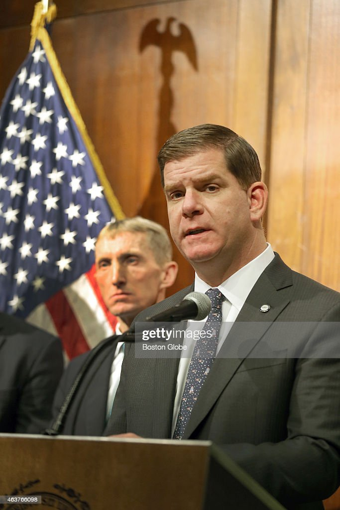 Mayor Martin J. Walsh held a press conference in regards to the coming storm with Boston Police Commissioner William Evans in the background.