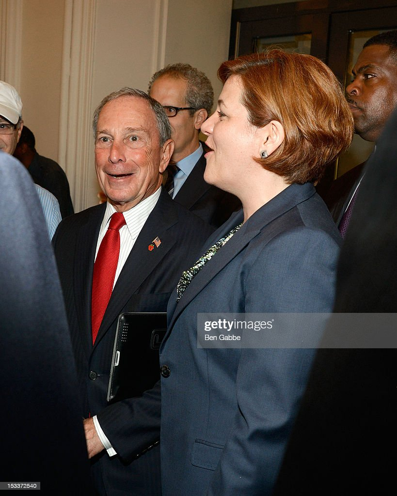Mayor Michael Bloomberg and City Council Speaker Christine Quinn attend the Public Theater unveiling on October 4, 2012 in New York City.