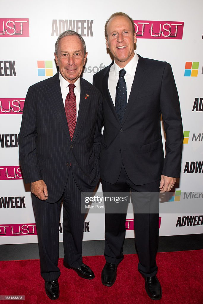 Mayor <a gi-track='captionPersonalityLinkClicked' href=/galleries/search?phrase=Michael+Bloomberg&family=editorial&specificpeople=171685 ng-click='$event.stopPropagation()'>Michael Bloomberg</a> and Microsoft VP of Sales Keith Lorizio attend the 2013 Adweek Hot List gala at Capitale on December 2, 2013 in New York City.