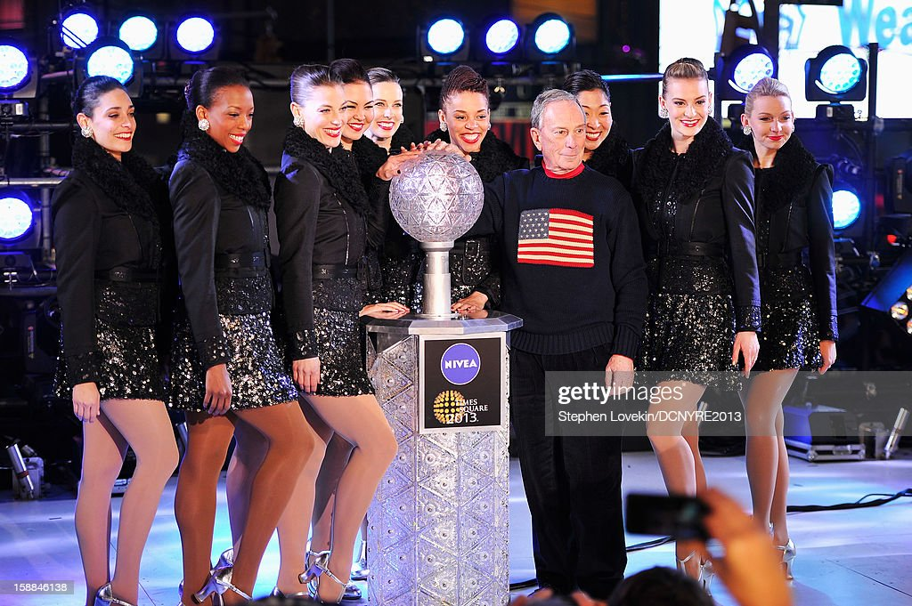 Mayor <a gi-track='captionPersonalityLinkClicked' href=/galleries/search?phrase=Michael+Bloomberg&family=editorial&specificpeople=171685 ng-click='$event.stopPropagation()'>Michael Bloomberg</a> and The Rockettes onstage at Dick Clark's New Year's Rockin' Eve with Ryan Seacrest 2013 in Times Square on December 31, 2012 in New York City, New York.