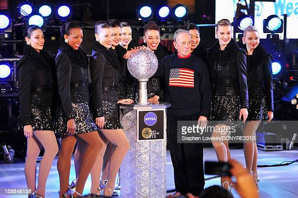 Mayor Michael Bloomberg and The Rockettes onstage at Dick Clark's New Year's Rockin' Eve with Ryan Seacrest 2013 in Times Square on December 31 2012...