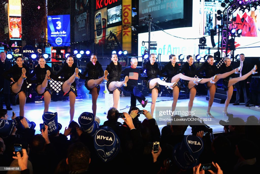 Mayor <a gi-track='captionPersonalityLinkClicked' href=/galleries/search?phrase=Michael+Bloomberg&family=editorial&specificpeople=171685 ng-click='$event.stopPropagation()'>Michael Bloomberg</a> and The Rockettes perform onstage at Dick Clark's New Year's Rockin' Eve with Ryan Seacrest 2013 in Times Square on December 31, 2012 in New York City, New York.