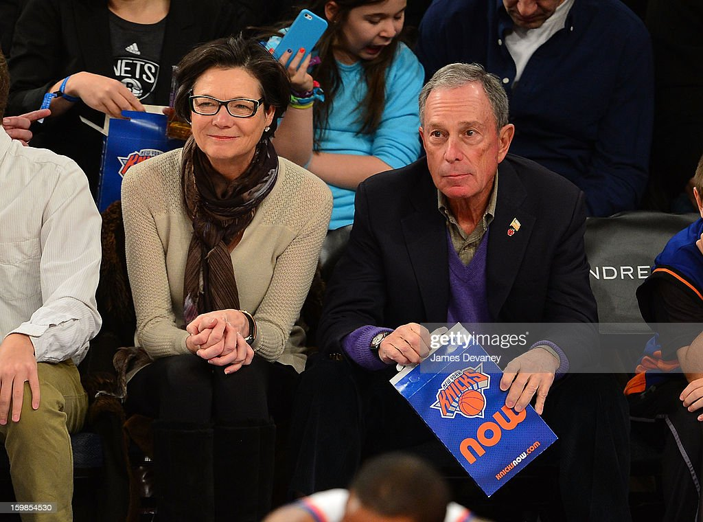 Mayor <a gi-track='captionPersonalityLinkClicked' href=/galleries/search?phrase=Michael+Bloomberg&family=editorial&specificpeople=171685 ng-click='$event.stopPropagation()'>Michael Bloomberg</a> attends the Brooklyn Nets vs New York Knicks game at Madison Square Garden on January 21, 2013 in New York City.