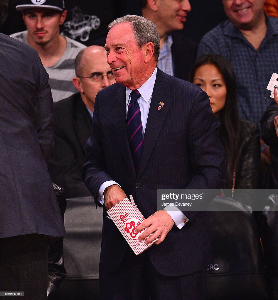 Mayor <a gi-track='captionPersonalityLinkClicked' href=/galleries/search?phrase=Michael+Bloomberg&family=editorial&specificpeople=171685 ng-click='$event.stopPropagation()'>Michael Bloomberg</a> attends the Miami Heat vs Brooklyn Nets game at Barclays Center on November 1, 2013 in the Brooklyn borough of New York City.