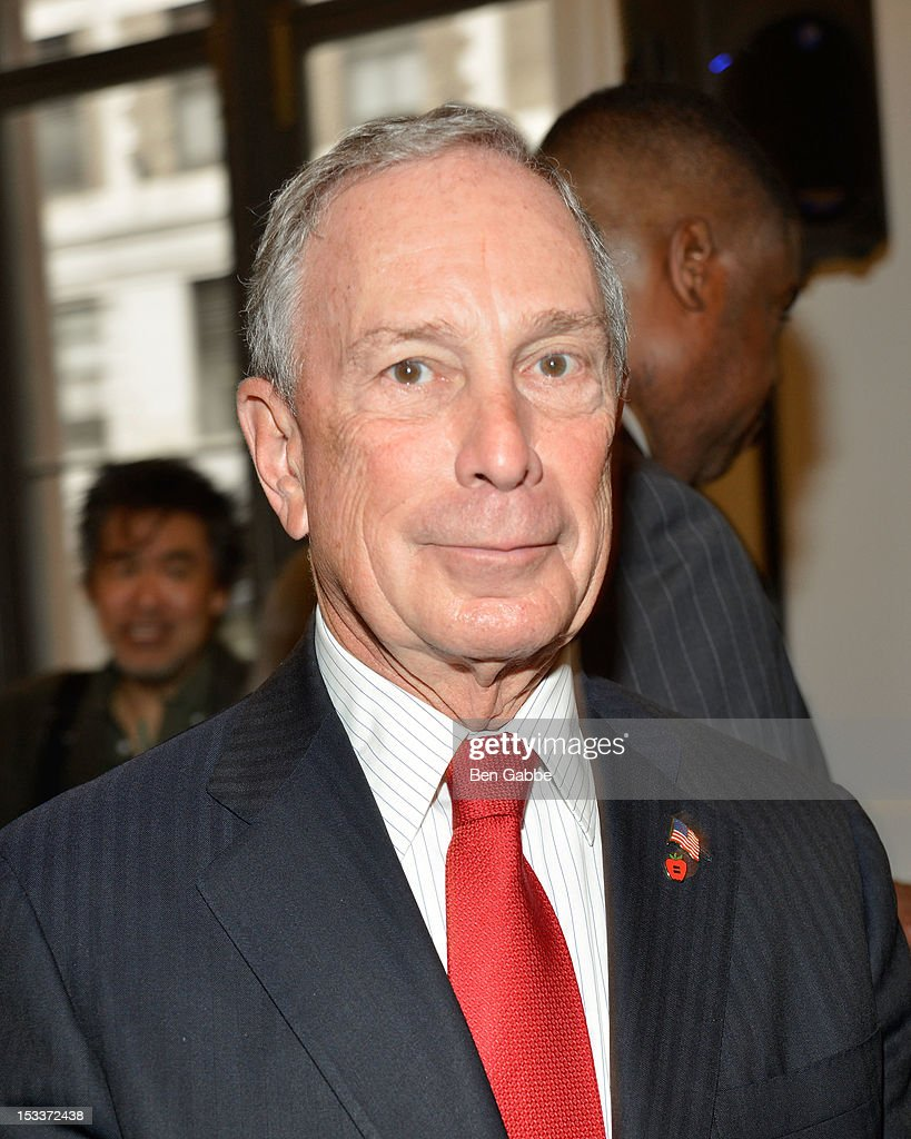 Mayor <a gi-track='captionPersonalityLinkClicked' href=/galleries/search?phrase=Michael+Bloomberg&family=editorial&specificpeople=171685 ng-click='$event.stopPropagation()'>Michael Bloomberg</a> attends the Public Theater unveiling on October 4, 2012 in New York City.