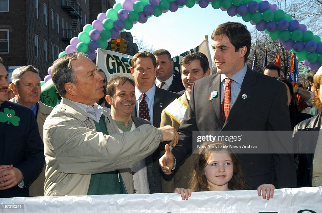 Mayor Michael Bloomberg greets New Paltz Mayor Jason West at the Queens St Patrick's Day Parade on Skillman Ave in Sunnyside West who is facing 19...