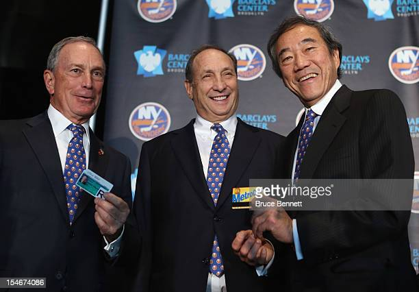 Mayor Michael Bloomberg owner Bruce Ratner of the Brooklyn Nets and New York Islanders owner Charles Wang announce the team's move to the Barclays in...
