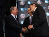 Mayor Michael Bloomberg owner Bruce Ratner of the Brooklyn Nets and New York Islanders owner Charles Wang announce the team's move to Brooklyn in...