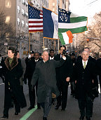 Mayor Michael R Bllomberg marches in the 245th Annual St Patrick's Day Parade on 5th Avenue in New York City on March 17 2006 He is accompenied by...