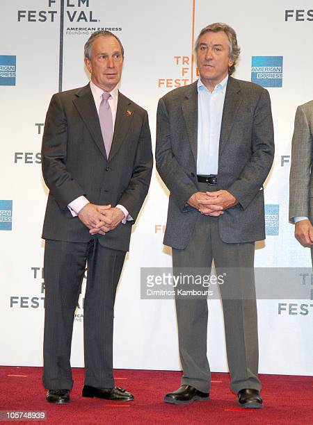 Mayor Michael R Bloomberg and Robert De Niro during 4th Annual Tribeca Film Festival Press Conference at Tribeca Performing Arts Center in New York...