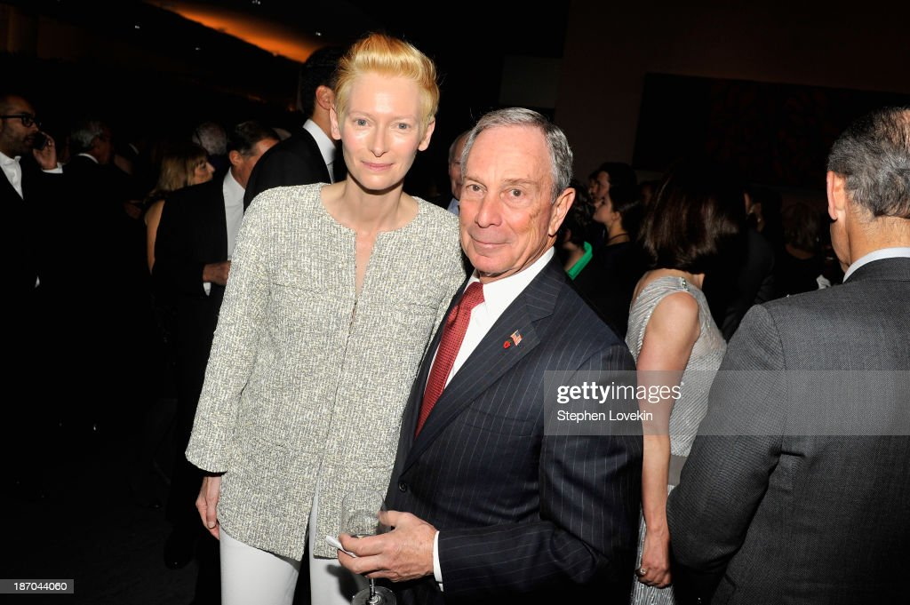 Mayor Michael R. Bloomberg speaks with actress <a gi-track='captionPersonalityLinkClicked' href=/galleries/search?phrase=Tilda+Swinton&family=editorial&specificpeople=202991 ng-click='$event.stopPropagation()'>Tilda Swinton</a> at The Museum of Modern Art Film Benefit: A Tribute to <a gi-track='captionPersonalityLinkClicked' href=/galleries/search?phrase=Tilda+Swinton&family=editorial&specificpeople=202991 ng-click='$event.stopPropagation()'>Tilda Swinton</a> reception at Museum of Modern Art on November 5, 2013 in New York City.