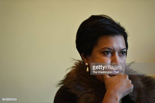 C Mayor Muriel Bowser is seen during an interview with The Washington Post via Getty Images after taking part in a press conference on the Death with...