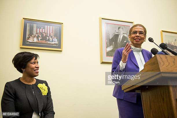 C Mayor Muriel Bowser left and Del Eleanor Holmes Norton DDC hold a press conference in the Cannon House Office Building on Monday Jan 5 to call on...