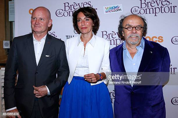 Mayor of 4th district of Paris Christophe Girard Minister of Health Marisol Touraine and Director of the movie JeanMichel Ribes attend the 'Breves de...