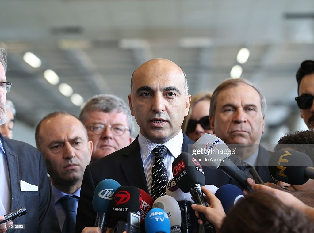 Mayor of Bakirkoy Bulent Kerimoglu (C) speaks to media during a commemorative ceremony held for the victims of the Istanbul Airport terror attack outside the International departure terminal in Istanbul, Turkey on July 1, 2016.