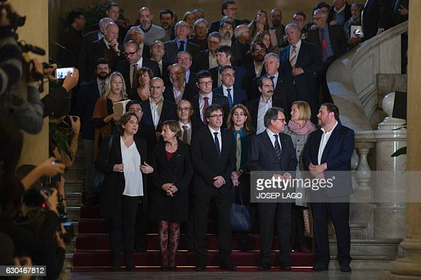 Mayor of Barcelona Ada Colau Catalan parliament president Carme Forcadell President of the Catalan Government Carles Puigdemont Former President of...