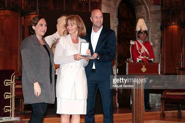 Mayor of Barcelona Ada Colau Danny CruyffCoster and Jordi Cruyff attend the Golden Medal of Merit for Johan Cruyff Event at the Salo de Cent in the...