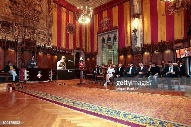Mayor of Barcelona Ada Colau speaching while Danny CruyffCoster and Jordi Cruyff attend during the Golden Medal of Merit for Johan Cruyff Event at...