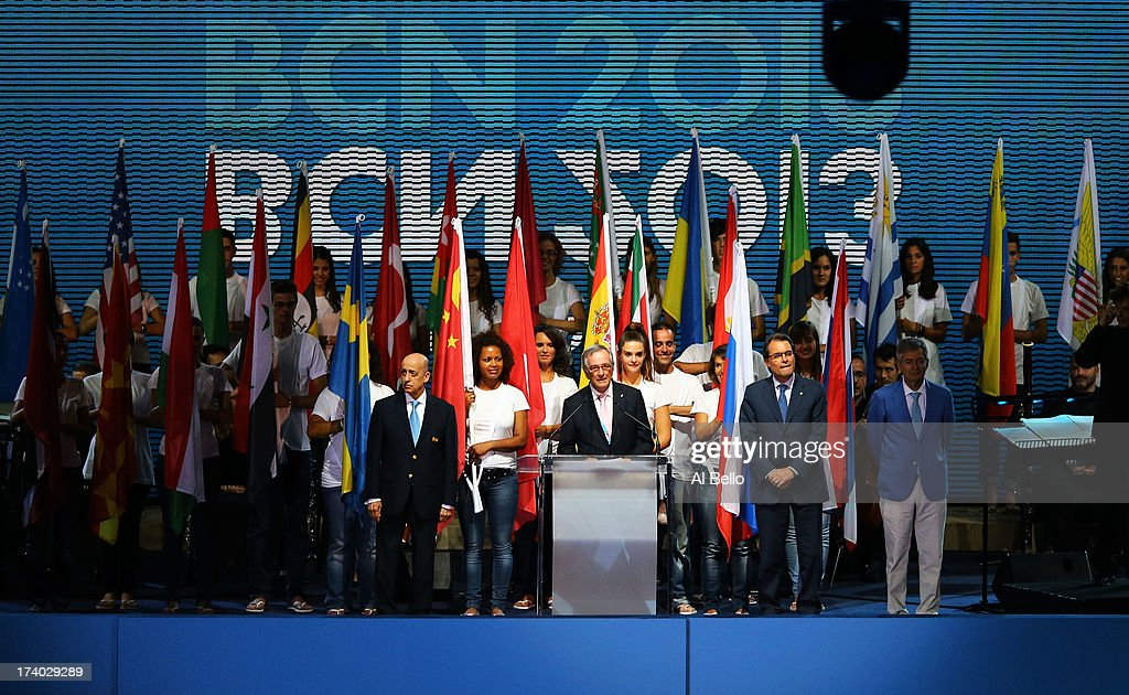 Mayor of Barcelona Xavier Trias speaks during the Opening Ceremony of the 15th FINA World Championships at Palau Sant Jordi on July 19, 2013 in Barcelona, Spain.