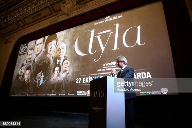 Mayor of Beyoglu Misbah Demircan speaks during the preview of oscar nominee movie 'Ayla' at Grand Pera Emek Cinema in Istanbul Turkey on October 16...
