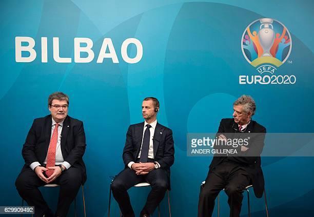Mayor of Bilbao Jose Maria Aburto speaks next to UEFA president Aleksander Ceferin and president of the Royal Spanish Football Federation and UEFA...