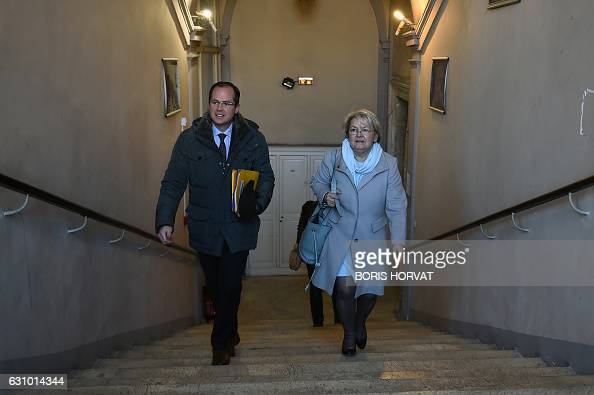 Mayor of Bollene and member of French political farright party 'Ligue du Sud' MarieClaude Bompard arrives with Xavier Fruleux at the court house of...