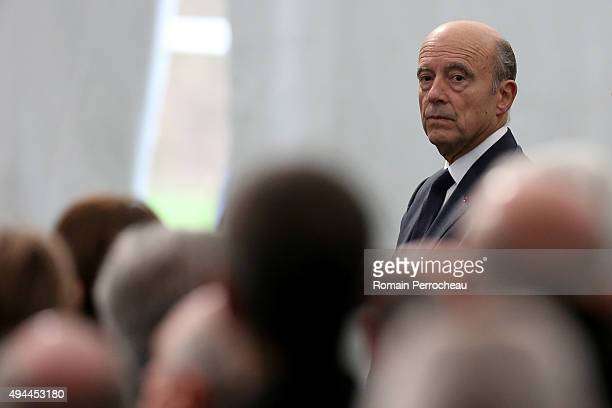 Mayor of Bordeaux Alain Juppe looks on before the ceremony in memory of the victims of French bus crash on October 27 2015 in Petit Palais et...