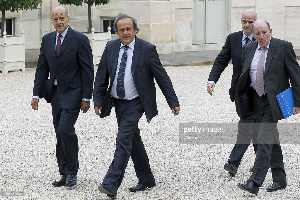Mayor of Bordeaux, Alain Juppe, UEFA President Michel Platini, UEFA General Secretary Gianni Infantino and UEFA EURO 2016 SAS chairman Jacques Lambert arrive at the Elysee Palace for a lunch with French President Francois Hollande for the UEFA EURO 2016 launch on 11 September 2014, in Paris, France. The UEFA EURO 2016 is the 15th European Soccer Championship taking place in France from 10 June to 10 July, 2016.