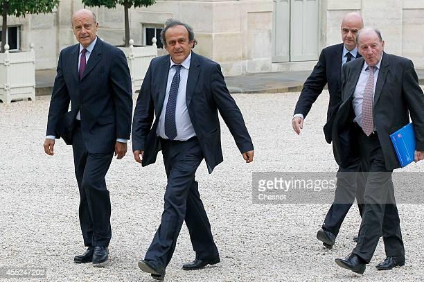 Mayor of Bordeaux Alain Juppe UEFA President Michel Platini UEFA General Secretary Gianni Infantino and UEFA EURO 2016 SAS chairman Jacques Lambert...