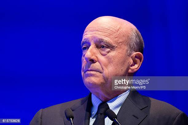 Mayor of Bordeaux and candidate to the Primary Election of right wing to the Presidential Election 2017 Alain Juppe delivers a speech before 600...