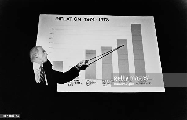 Mayor of Boston Kevin White points to a chart showing inflation costs Boston Massachusetts 25th September 1978