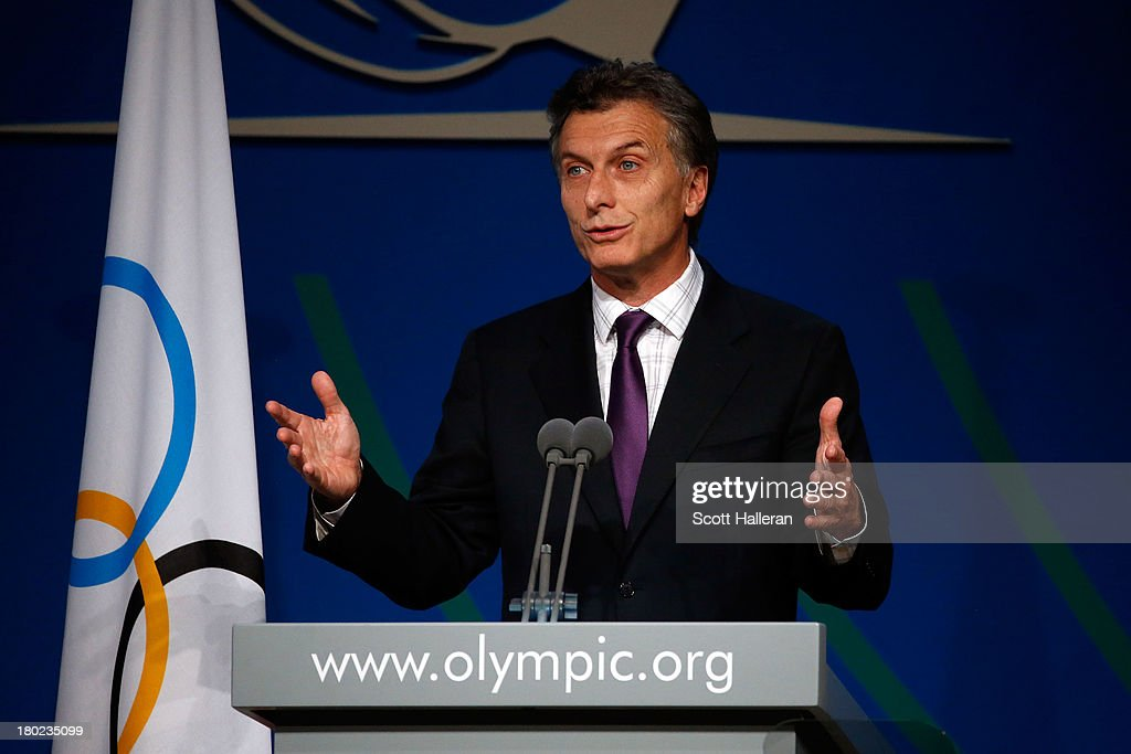 Mayor of Buenos Aires, <a gi-track='captionPersonalityLinkClicked' href=/galleries/search?phrase=Mauricio+Macri&family=editorial&specificpeople=773012 ng-click='$event.stopPropagation()'>Mauricio Macri</a> speaks during the 125th IOC Session - IOC Presidential Election at the Hilton Hotel on on September 10, 2013 in Buenos Aires, Argentina.