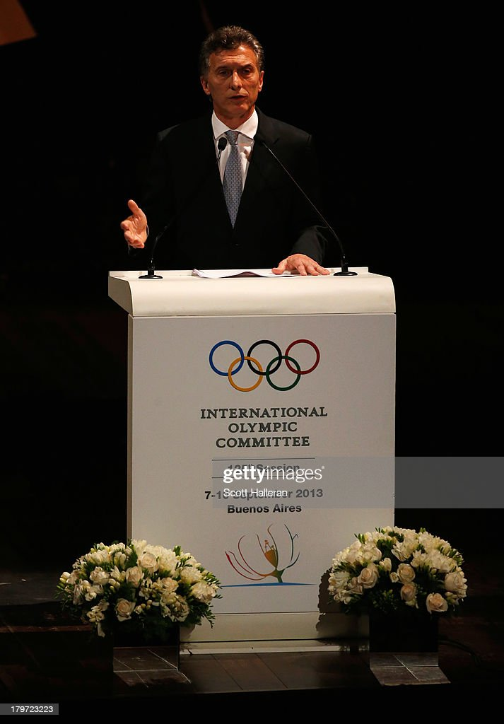 Mayor of Buenos Aires, <a gi-track='captionPersonalityLinkClicked' href=/galleries/search?phrase=Mauricio+Macri&family=editorial&specificpeople=773012 ng-click='$event.stopPropagation()'>Mauricio Macri</a> speaks during the Opening Ceremony of the 125th IOC Session at Teatro Colon on September 6, 2013 in Buenos Aires, Argentina.