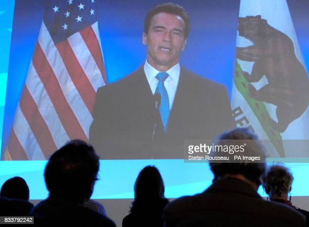 Mayor of California Arnold Swarzennegger addresses the Conservative Party conference in Blackpool via video link
