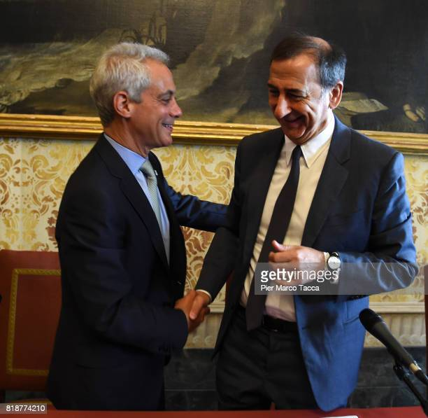 Mayor of Chicago Rahm Emanuel and Mayor of Milan Giuseppe Sala attend a press conference at Palazzo Marino during his visit on July 19 2017 in Milan...