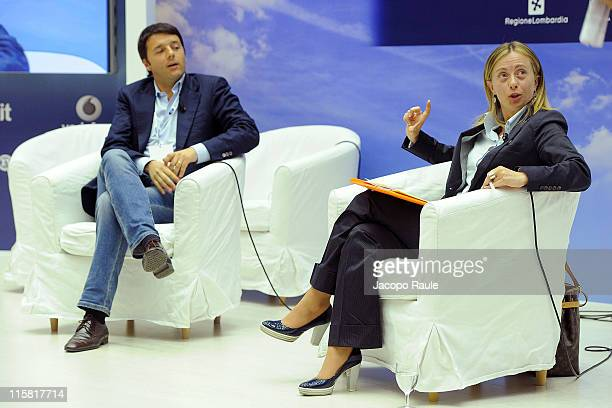 Mayor of Florence Matteo Renzi and Italian Minister of the Youth Giorgia Meloni attend the 41st Santa Margherita Ligure Congress on June 10 2011 in...