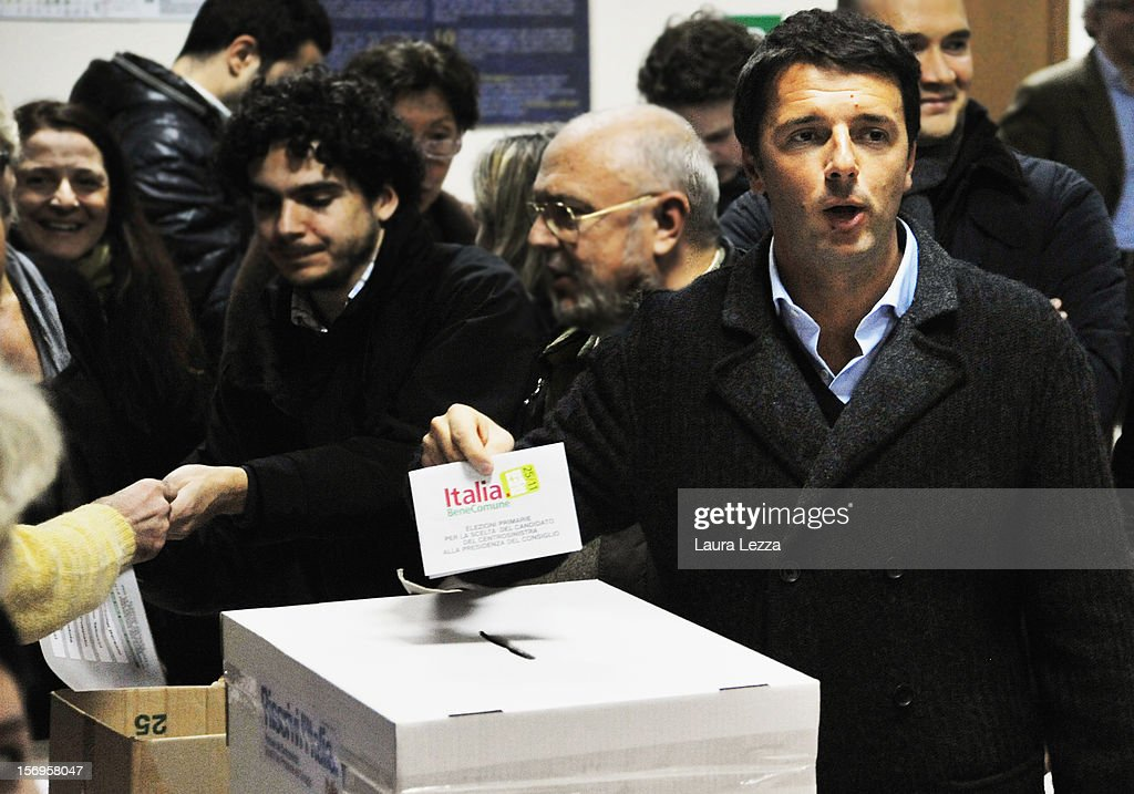 Mayor of Florence <a gi-track='captionPersonalityLinkClicked' href=/galleries/search?phrase=Matteo+Renzi&family=editorial&specificpeople=6689301 ng-click='$event.stopPropagation()'>Matteo Renzi</a> casts his vote in the PD Primary Elections on November 25, 2012 in Florence, Italy. None of the five candidates won a 50 percent majority vote today. <a gi-track='captionPersonalityLinkClicked' href=/galleries/search?phrase=Matteo+Renzi&family=editorial&specificpeople=6689301 ng-click='$event.stopPropagation()'>Matteo Renzi</a>, who received more than 36 percent of the vote, will face the head of Italy's Democratic Party Pier Luigi Bersani in a runoff next weekend to choose the center-left leader that will be the candidate for the next Italian election to succeed Mario Monti.