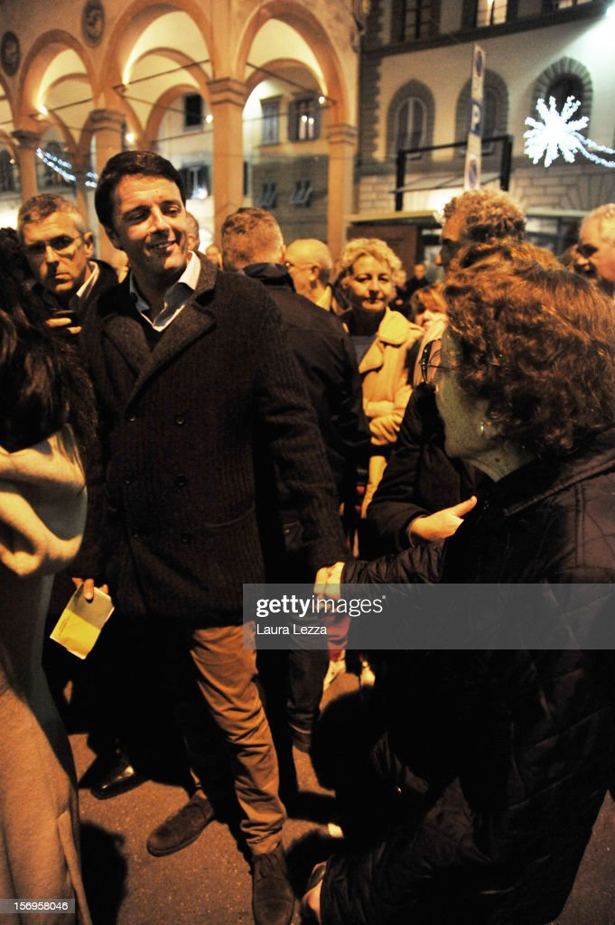 Mayor of Florence Matteo Renzi greets an old lady while lining up to vote in the 2012 PD Primary Elections on November 25, 2012 in Florence, Italy. None of the five candidates won a 50 percent majority vote today. Matteo Renzi, who received more than 36 percent of the vote, will face the head of Italy's Democratic Party Pier Luigi Bersani in a runoff next weekend to choose the center-left leader that will be the candidate for the next Italian election to succeed Mario Monti.