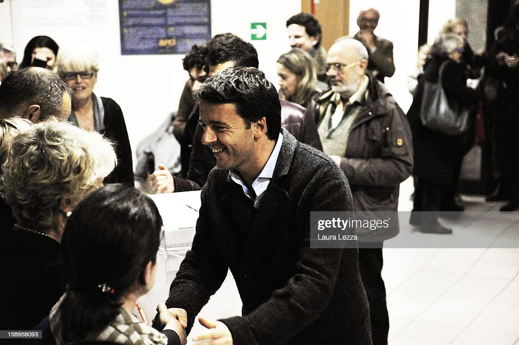 Mayor of Florence <a gi-track='captionPersonalityLinkClicked' href=/galleries/search?phrase=Matteo+Renzi&family=editorial&specificpeople=6689301 ng-click='$event.stopPropagation()'>Matteo Renzi</a> greets people after voting in the PD Primary Elections on November 25, 2012 in Florence, Italy. None of the five candidates won a 50 percent majority vote today. <a gi-track='captionPersonalityLinkClicked' href=/galleries/search?phrase=Matteo+Renzi&family=editorial&specificpeople=6689301 ng-click='$event.stopPropagation()'>Matteo Renzi</a>, who received more than 36 percent of the vote, will face the head of Italy's Democratic Party Pier Luigi Bersani in a runoff next weekend to choose the center-left leader that will be the candidate for the next Italian election to succeed Mario Monti.