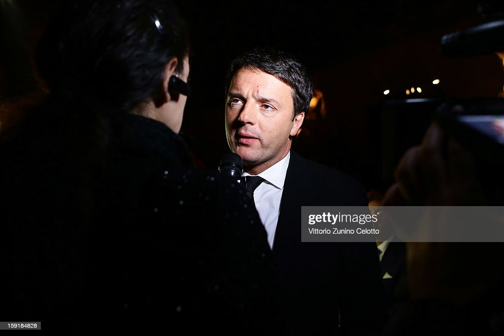 Mayor of Florence <a gi-track='captionPersonalityLinkClicked' href=/galleries/search?phrase=Matteo+Renzi&family=editorial&specificpeople=6689301 ng-click='$event.stopPropagation()'>Matteo Renzi</a> is interviewed before Ermanno Scervino fashion show as part of Pitti Immagine Uomo 83 at Palazzo Vecchio on January 9, 2013 in Florence, Italy.