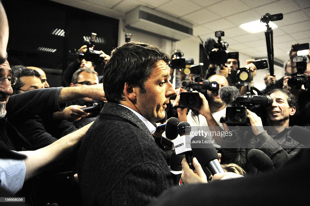 Mayor of Florence <a gi-track='captionPersonalityLinkClicked' href=/galleries/search?phrase=Matteo+Renzi&family=editorial&specificpeople=6689301 ng-click='$event.stopPropagation()'>Matteo Renzi</a> speaks to reporters after voting in the PD Primary Elections on November 25, 2012 in Florence, Italy. None of the five candidates won a 50 percent majority vote today. <a gi-track='captionPersonalityLinkClicked' href=/galleries/search?phrase=Matteo+Renzi&family=editorial&specificpeople=6689301 ng-click='$event.stopPropagation()'>Matteo Renzi</a>, who received more than 36 percent of the vote, will face the head of Italy's Democratic Party Pier Luigi Bersani in a runoff next weekend to choose the center-left leader that will be the candidate for the next Italian election to succeed Mario Monti.