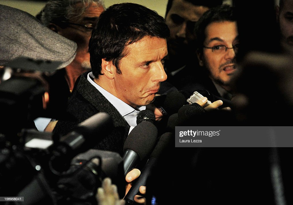 Mayor of Florence Matteo Renzi speaks to reporters after voting in the PD Primary Elections on November 25, 2012 in Florence, Italy. None of the five candidates won a 50 percent majority vote today. Matteo Renzi, who received more than 36 percent of the vote, will face the head of Italy's Democratic Party Pier Luigi Bersani in a runoff next weekend to choose the center-left leader that will be the candidate for the next Italian election to succeed Mario Monti.