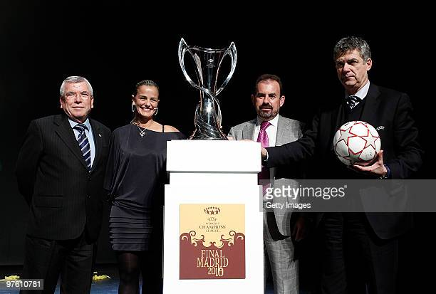 Mayor of Getafe Pedro Castro former football player Milene Domingues President of Getafe Angel Torres and President of Spanish Football Federation...