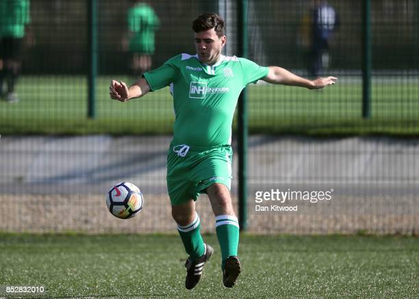 Mayor of Greater Manchester Andy Burnham in action during the annual 'Labour Party vs Journalists' football match during the first day of the Labour...