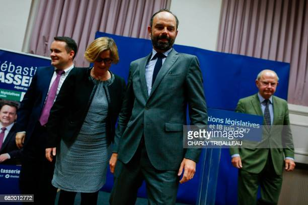 Mayor of Le Havre Edouard Philippe leaves after presenting the candidates for the 'La Republique en marche' party ahead of the June parliamentary...