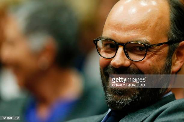 Mayor of Le Havre Edouard Philippe prepares to present the candidates for the 'La Republique en marche' party ahead of the June parliamentary...
