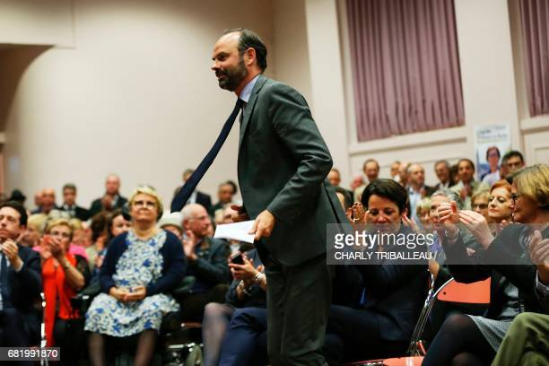 Mayor of Le Havre Edouard Philippe prepares to present the candidates for the 'La Republique en marche' party ahead of the June parliament election...